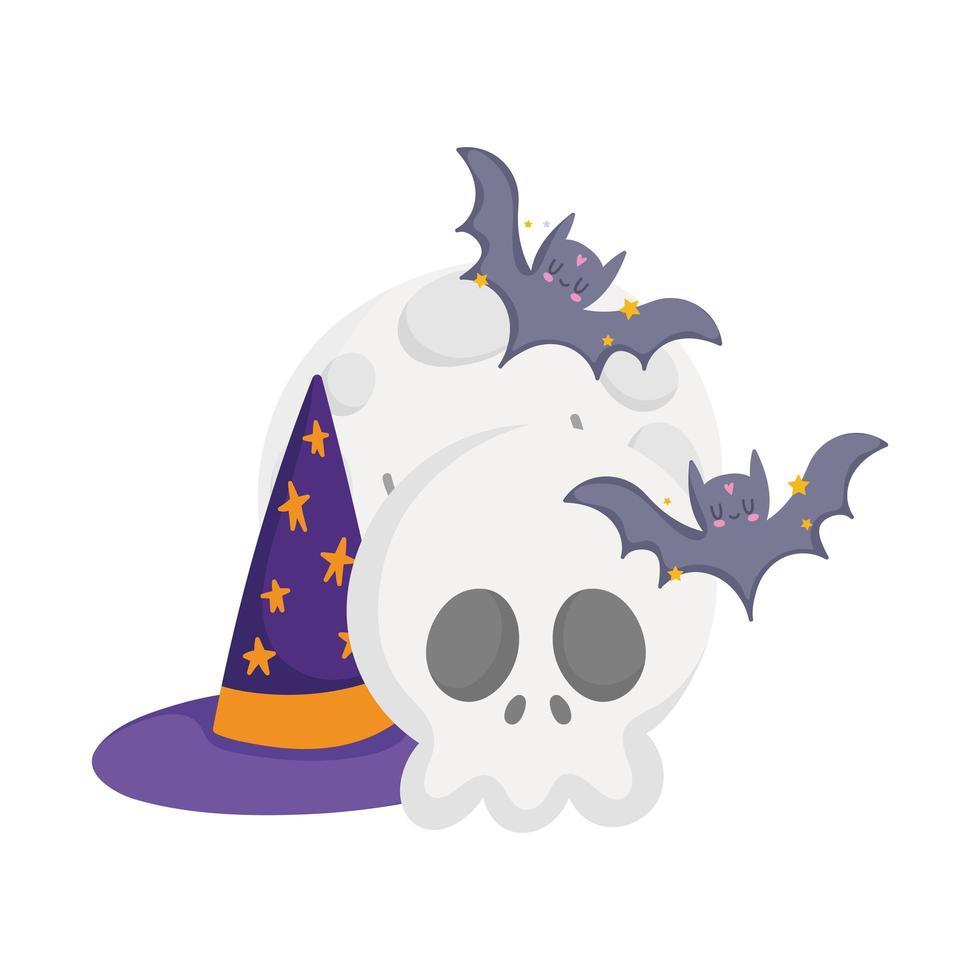 Happy Halloween, Schädel Mond Fledermäuse und Hut Cartoon, Süßes oder Saures Party Feier vektor