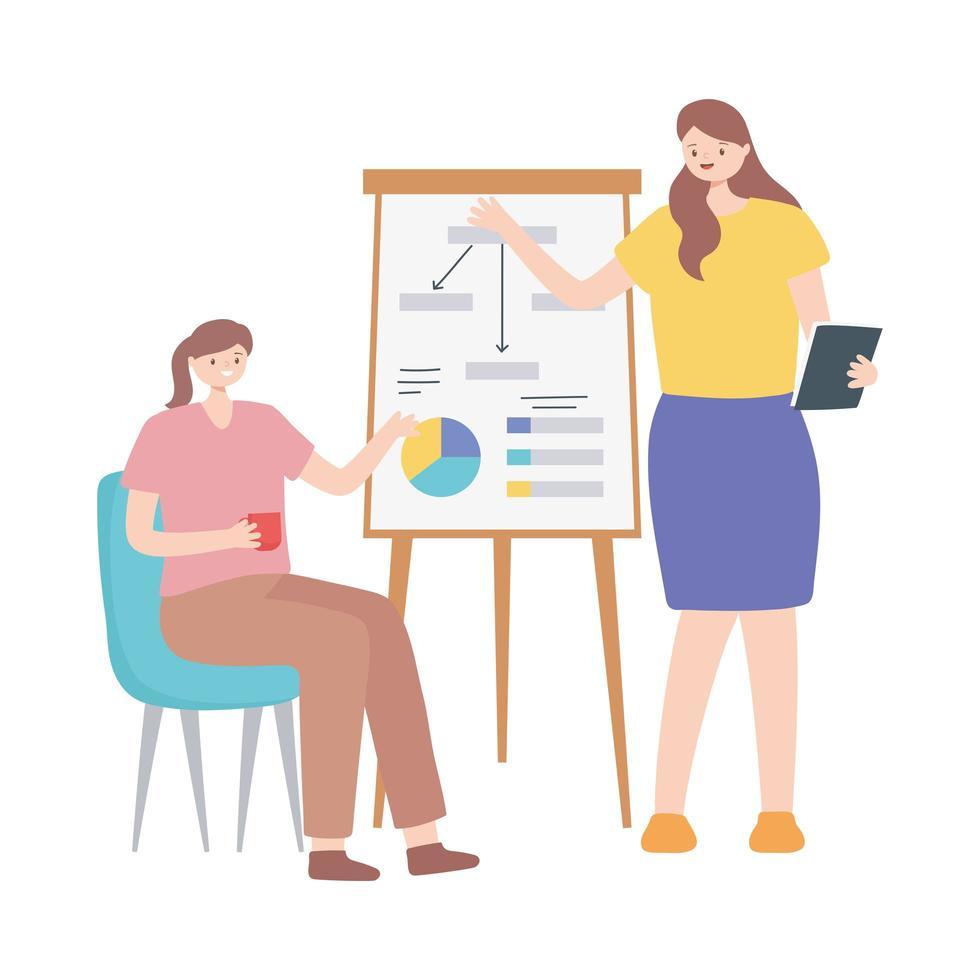 coworking, affärskvinnor affärsrapport styrelsemöte vektor