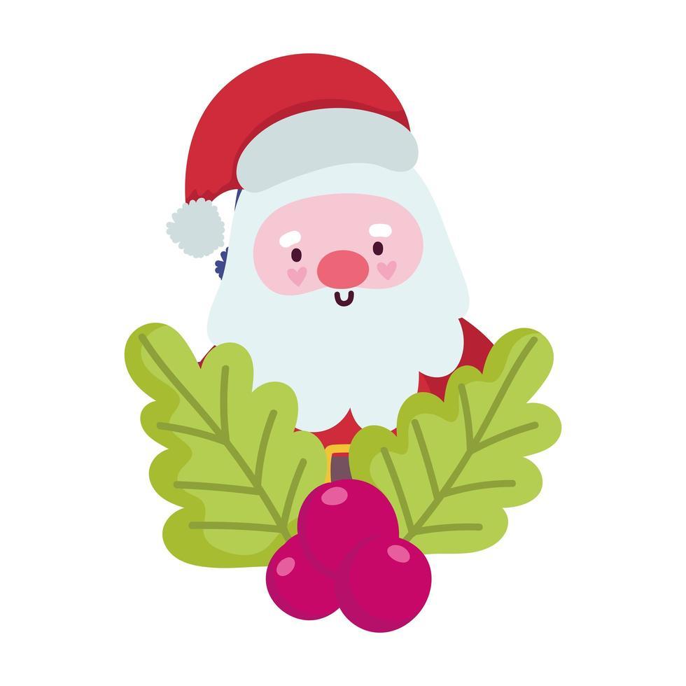 Frohe Weihnachten, Weihnachtsmann Karikatur Holly Berry Feier, isoliertes Design vektor