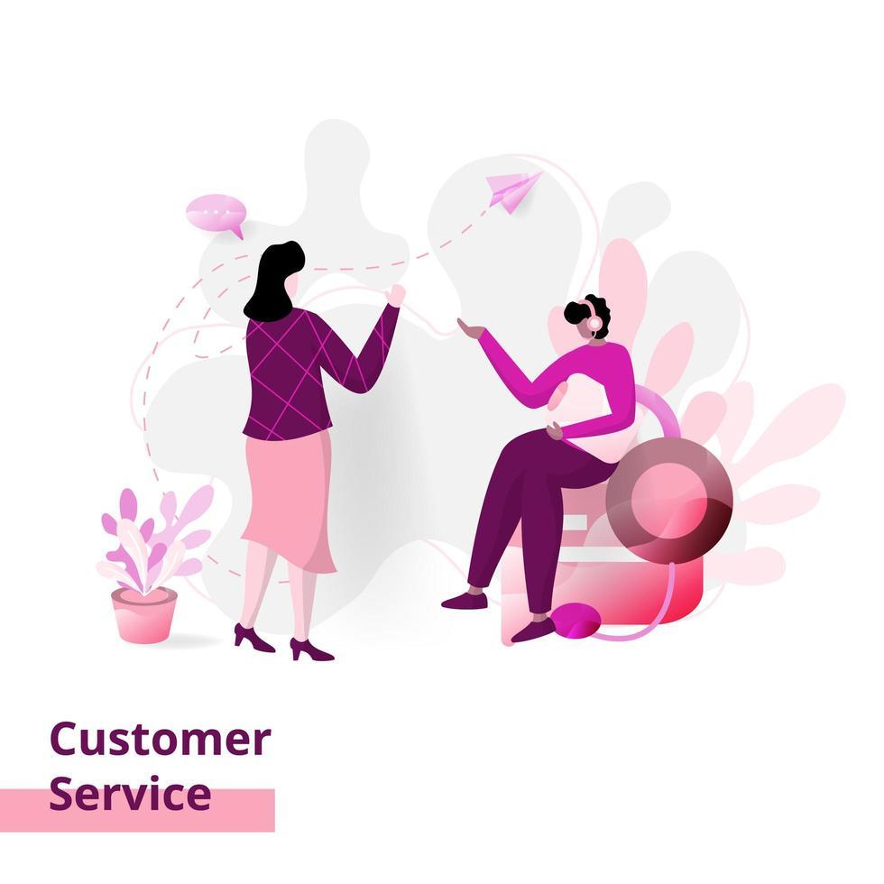 Landingpage-Kundendienst vektor