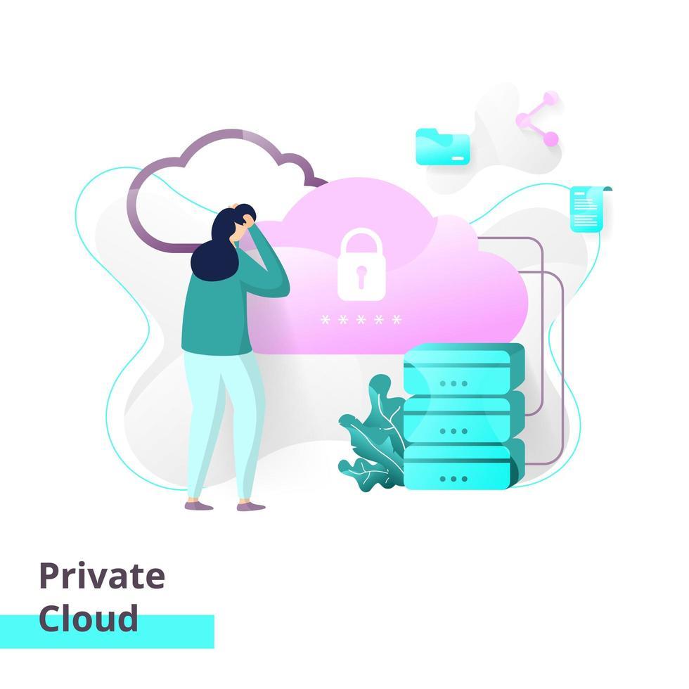 Zielseitenvorlage der privaten Cloud vektor