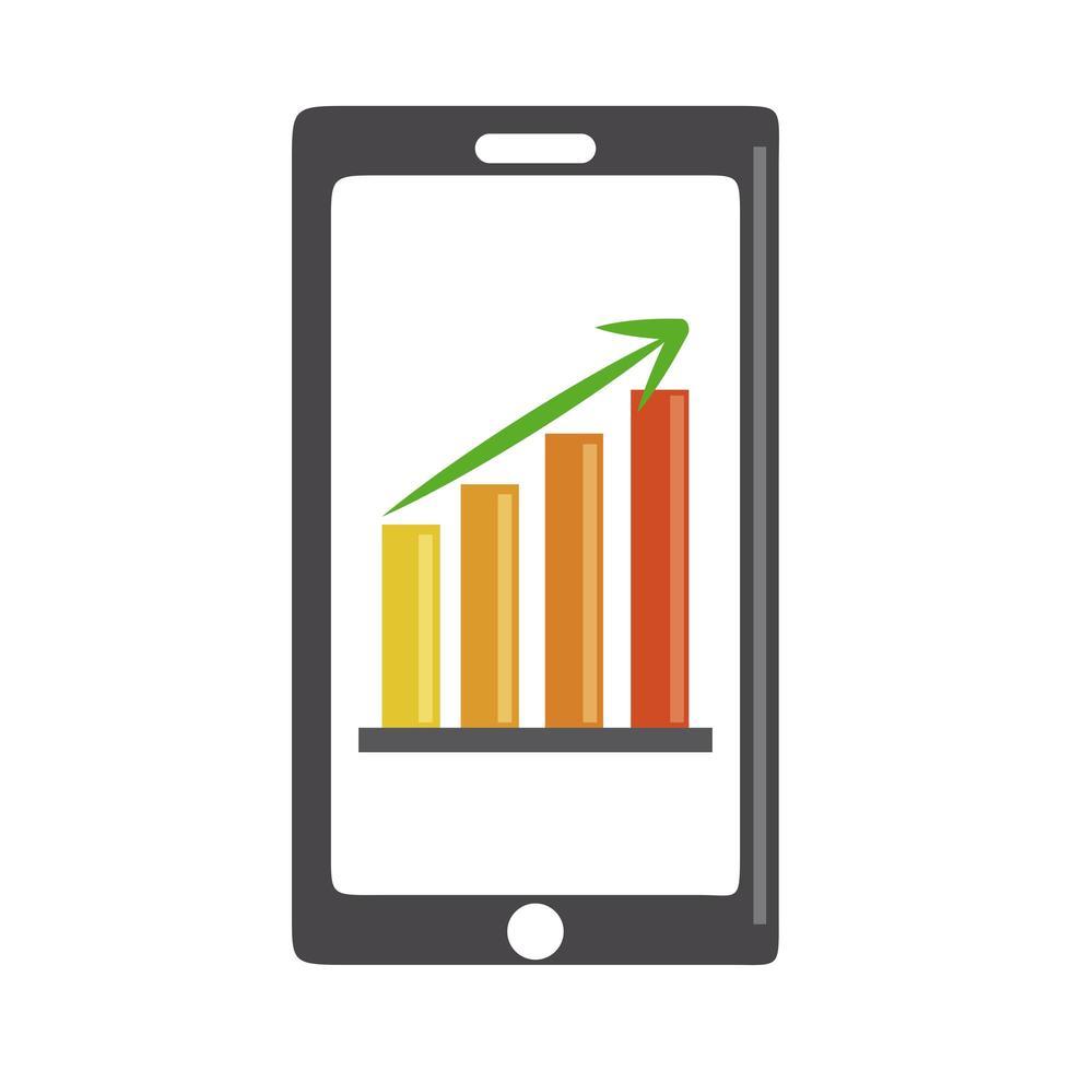 Datenanalyse, Geschäftsstrategie für digitale Diagramme für Smartphones und flaches Investitionssymbol vektor