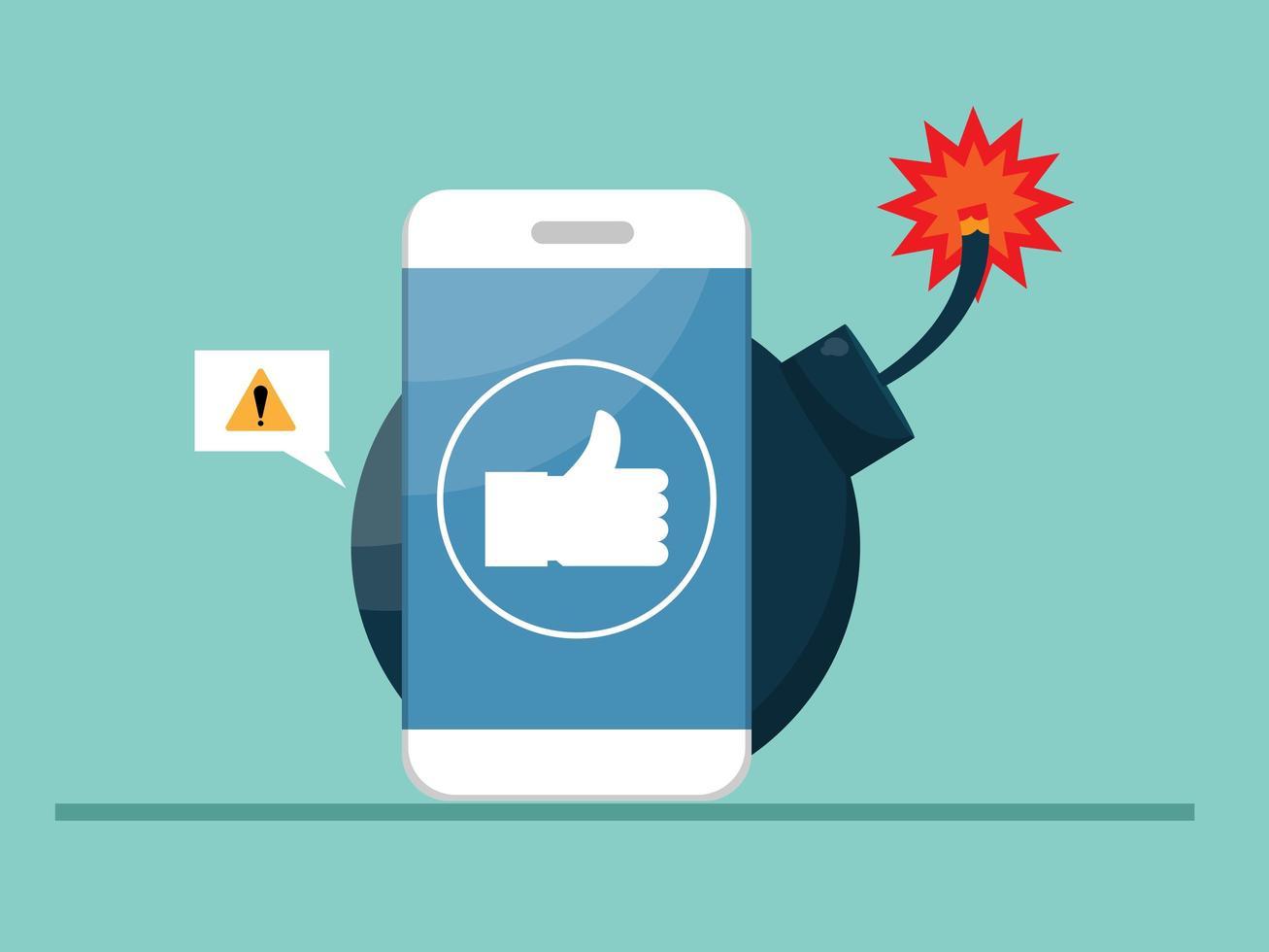 Smartphone mit großer Bombe, Gefahr durch Social-Media-Konzept vektor
