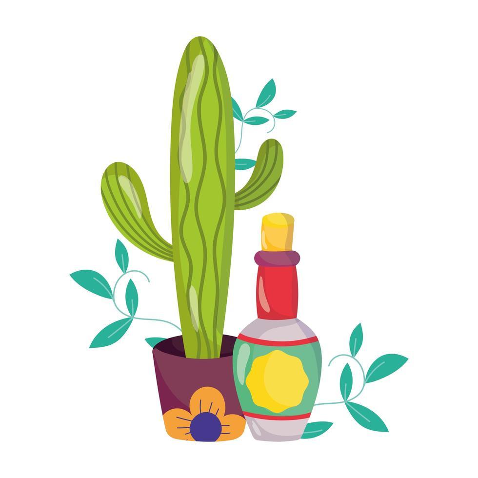 mexikanischer Unabhängigkeitstag, Kaktus-Tequila-Flaschendekoration, viva mexico wird im September gefeiert vektor