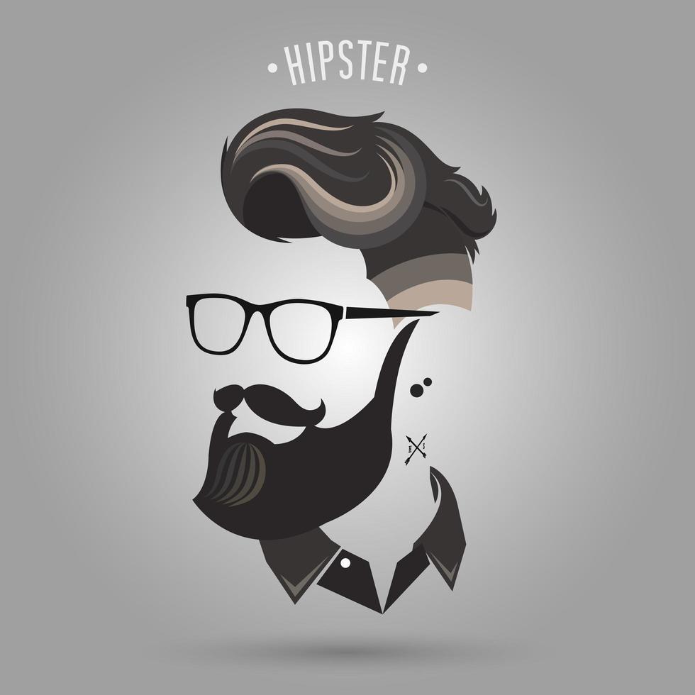 Hipster Mann mit braunen Haaren, Schnurrbart und Brille vektor