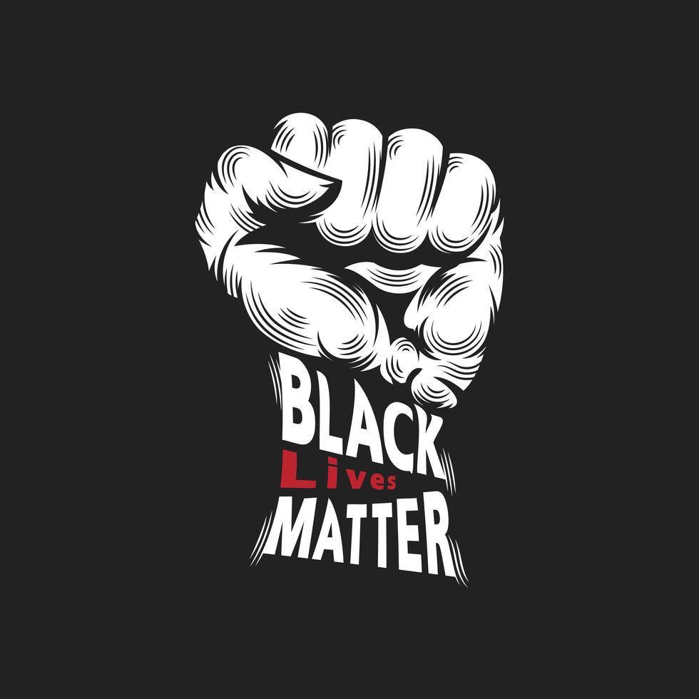 schwarze Leben Materie Zeichen mit der Faust nach oben vektor