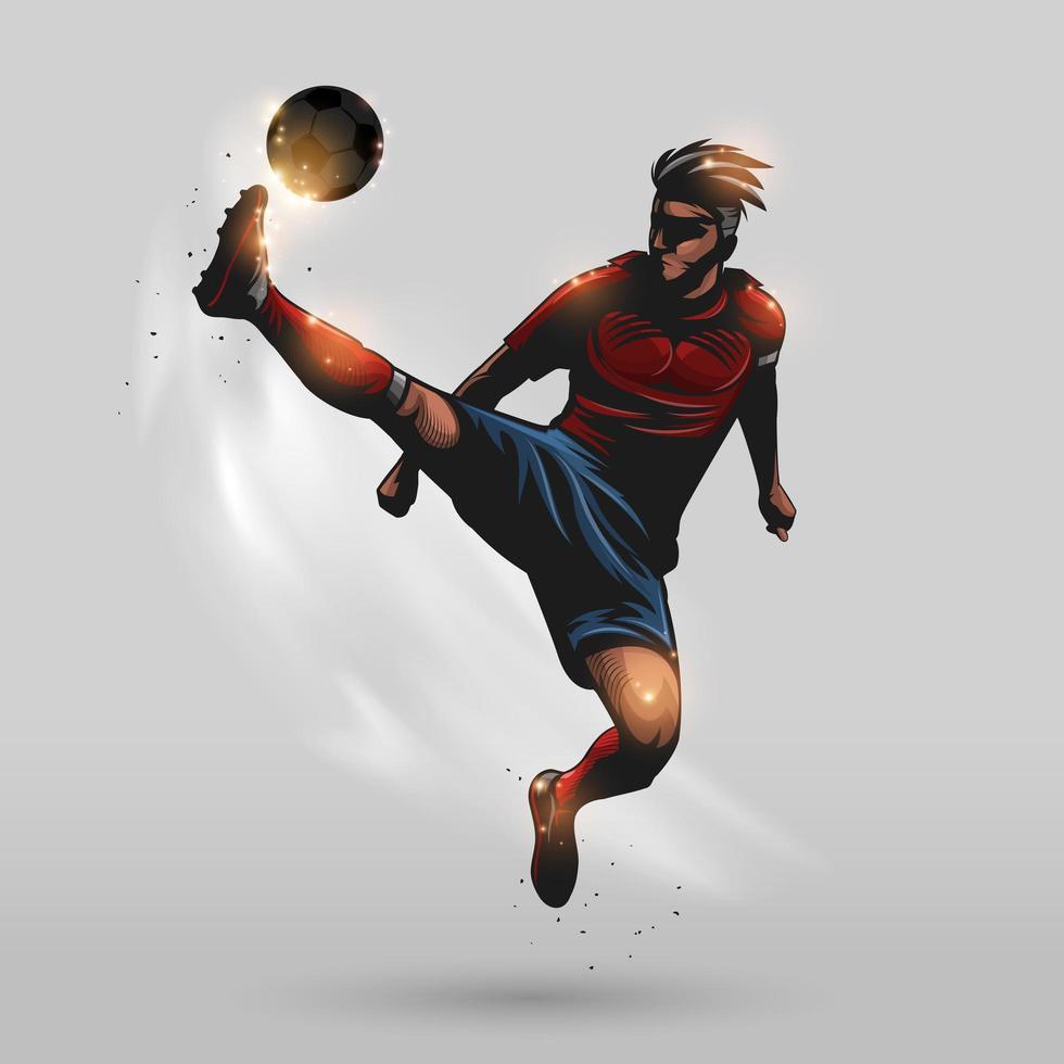 Fußballspieler Kick Jumping vektor