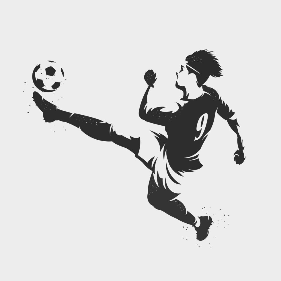 Silhouette Fußballspieler, der einen Fußball tritt vektor