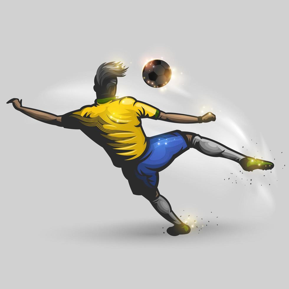 Fußballspieler, der einen Fußball tritt vektor
