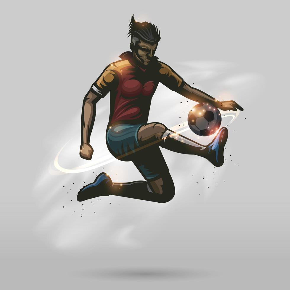 fotbollsspelare som sparkar en fotboll vektor