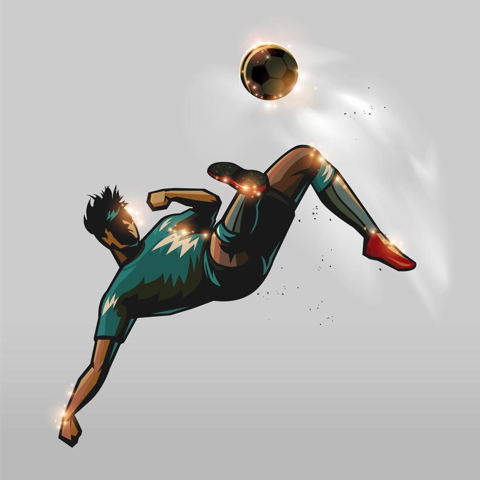 Fußballspieler, der einen Ball tritt vektor