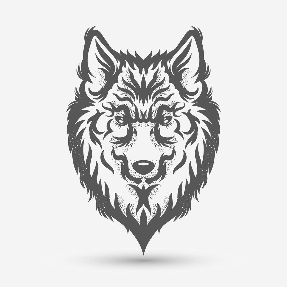 Wolfskopf Kunstpinsel vektor