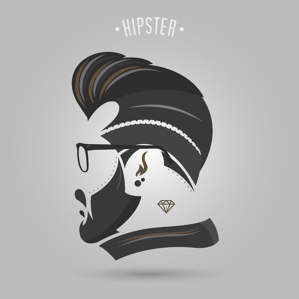 hipster man med mustasch och glasögon vektor