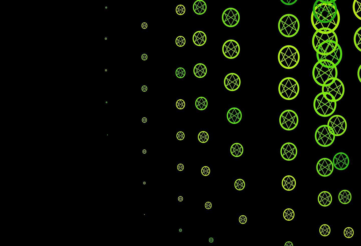 dunkelgrünes, gelbes Vektormuster mit magischen Elementen. vektor