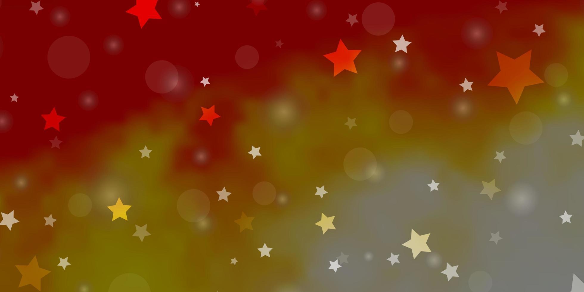 hellorange Vektor-Layout mit Kreisen, Sternen. vektor