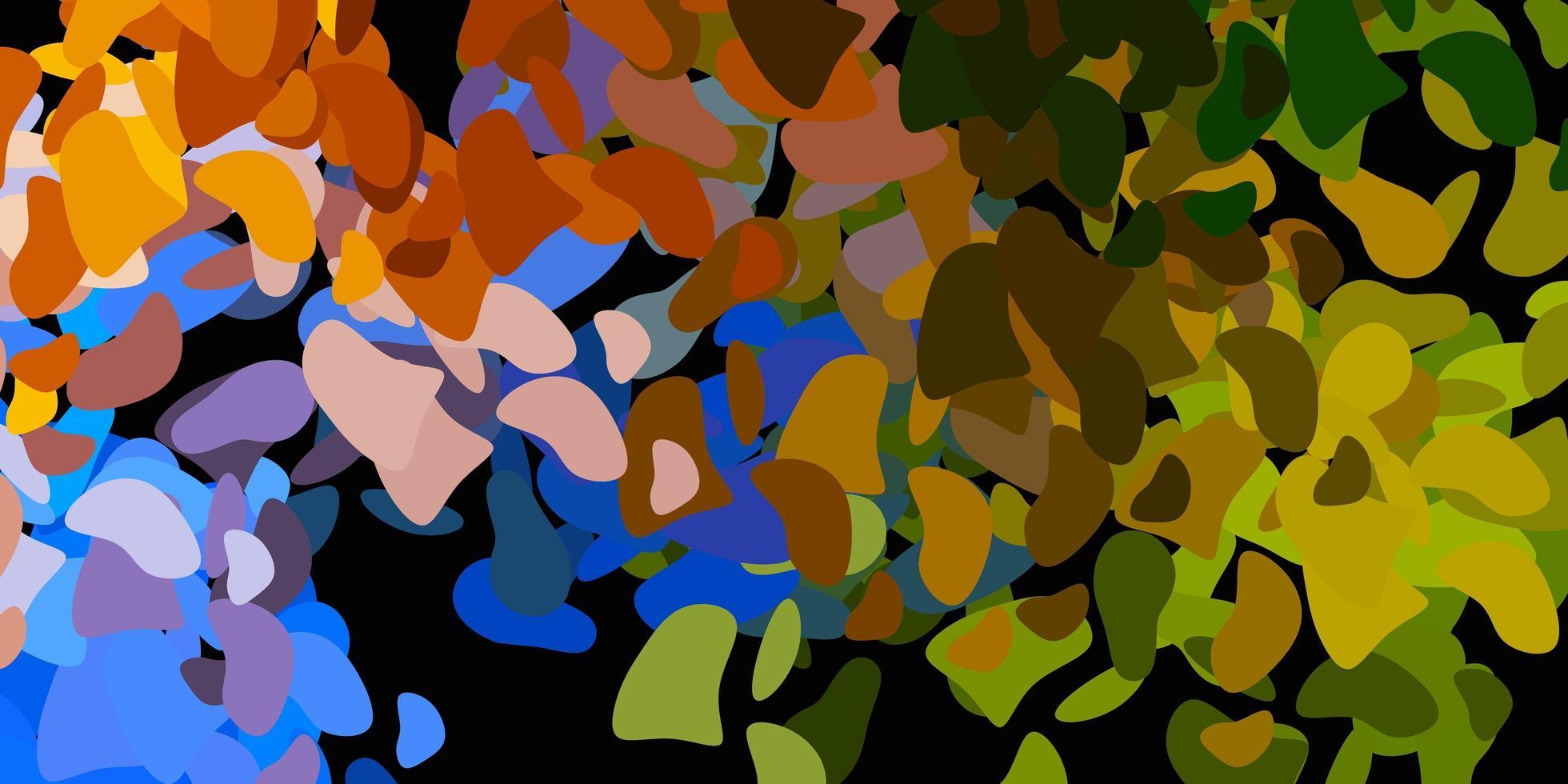 hellblauer, gelber Vektorhintergrund mit chaotischen Formen. vektor