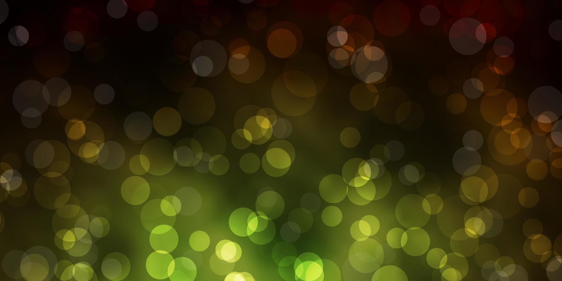 dunkelgrüner, gelber Vektorhintergrund mit Punkten. vektor
