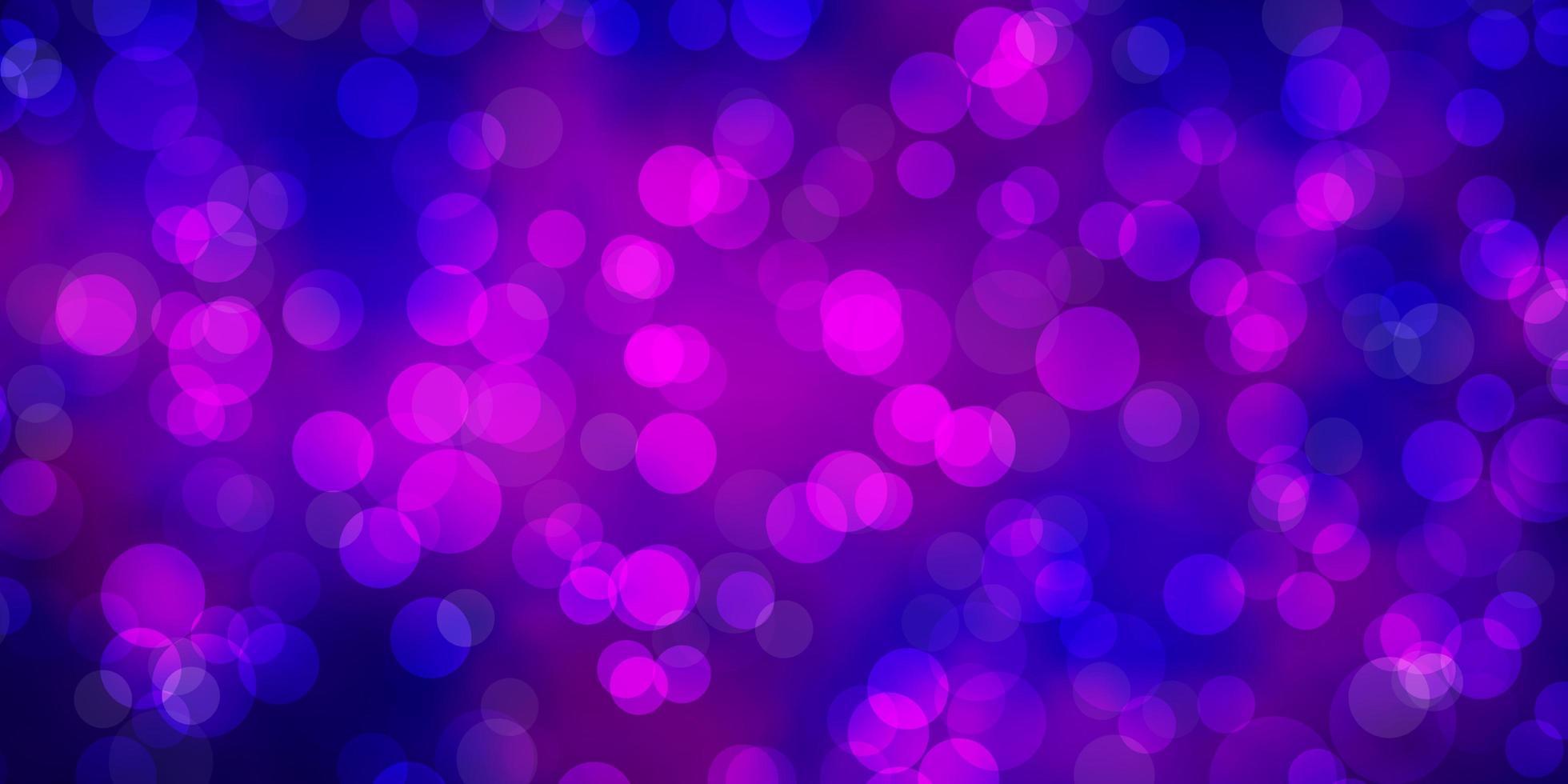 hellviolettes, rosa Vektorlayout mit Kreisformen. vektor