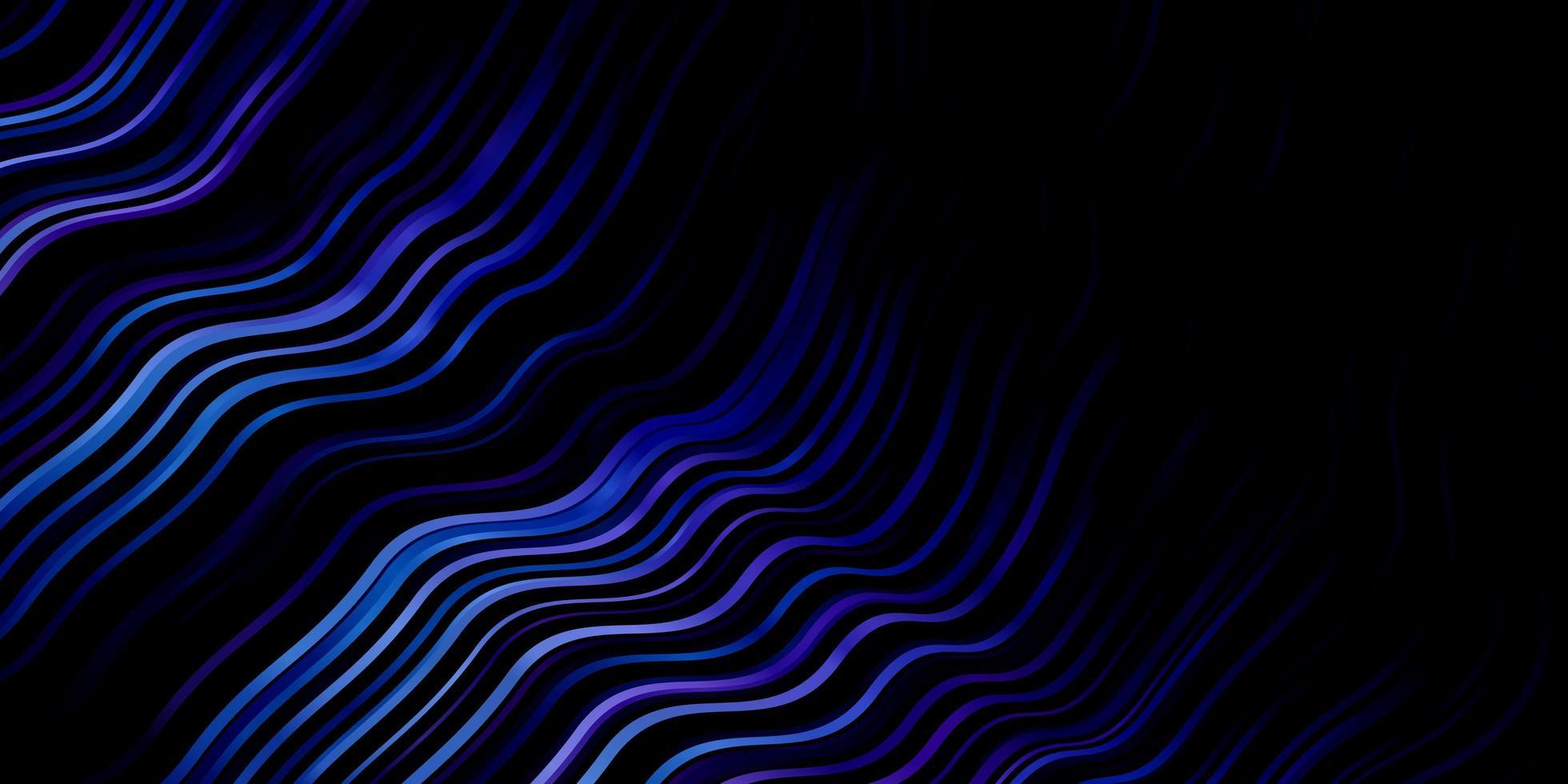 dunkelrosa, blauer Vektorhintergrund mit gebogenen Linien. vektor