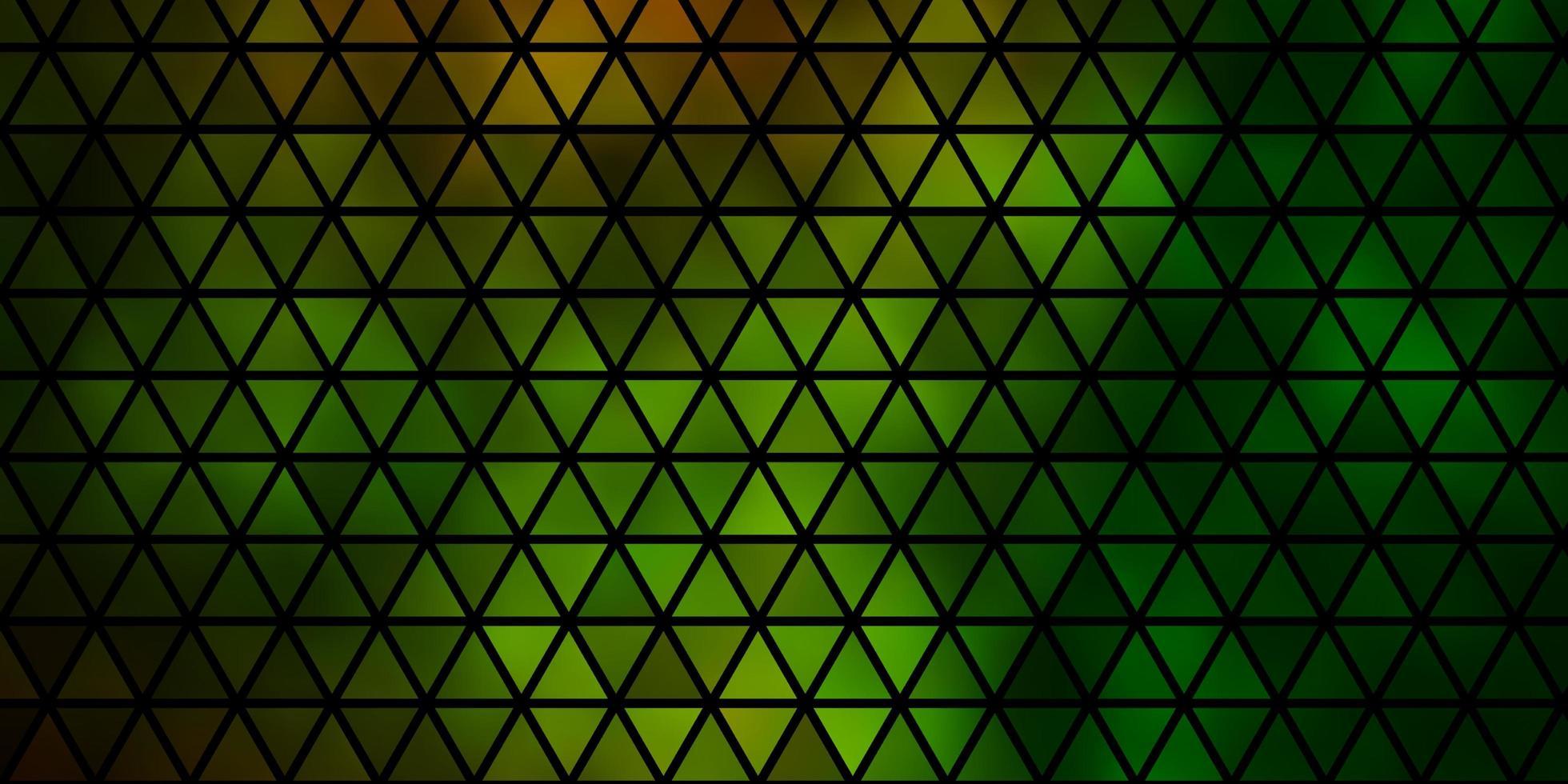 dunkelgrüner, gelber Vektorhintergrund mit Linien, Dreiecken. vektor