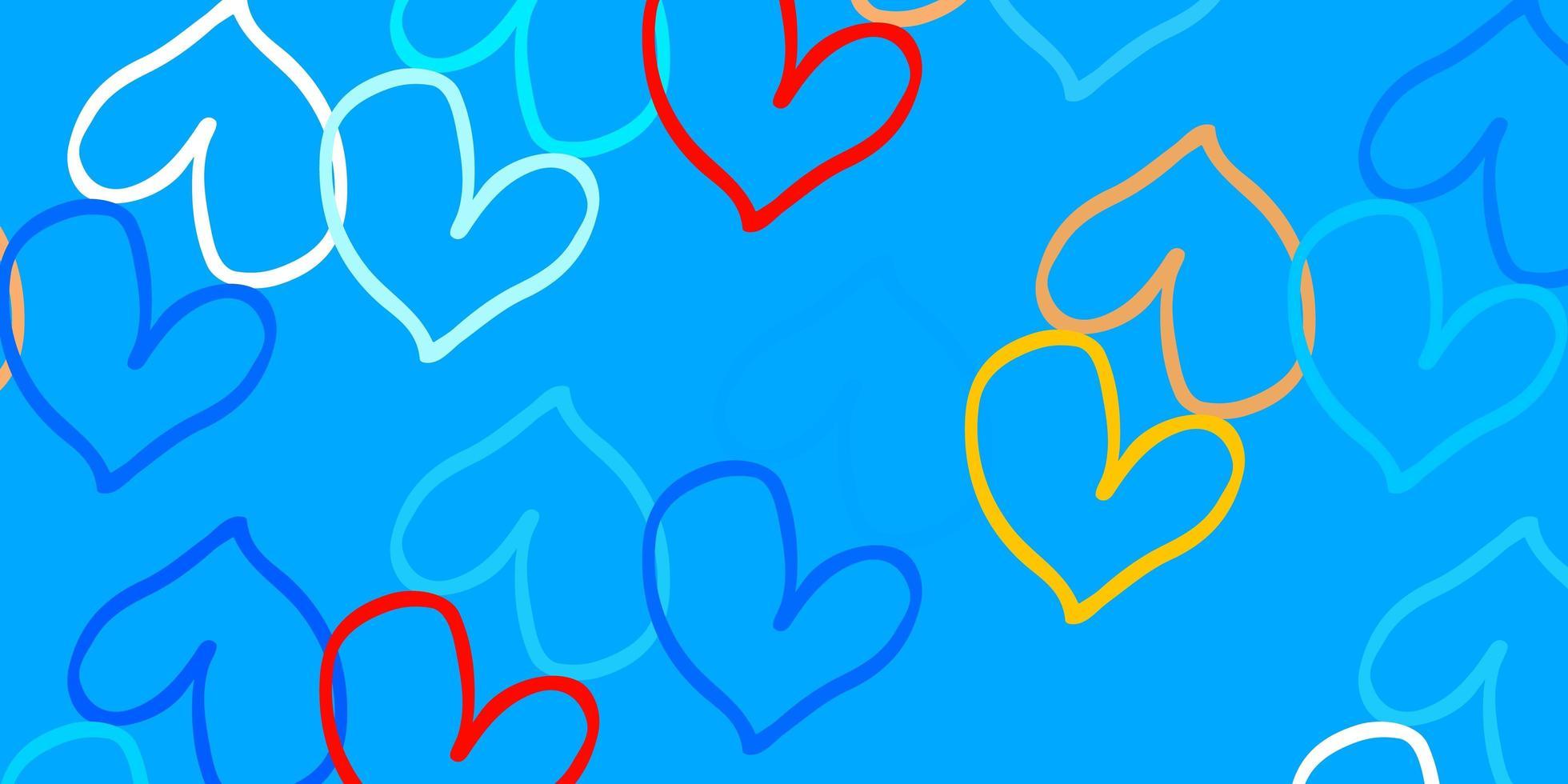 hellblauer, gelber Vektorhintergrund mit leuchtenden Herzen. vektor