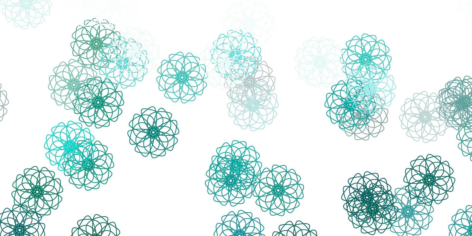 natürlicher Hintergrund des hellblauen, grünen Vektors mit Blumen. vektor