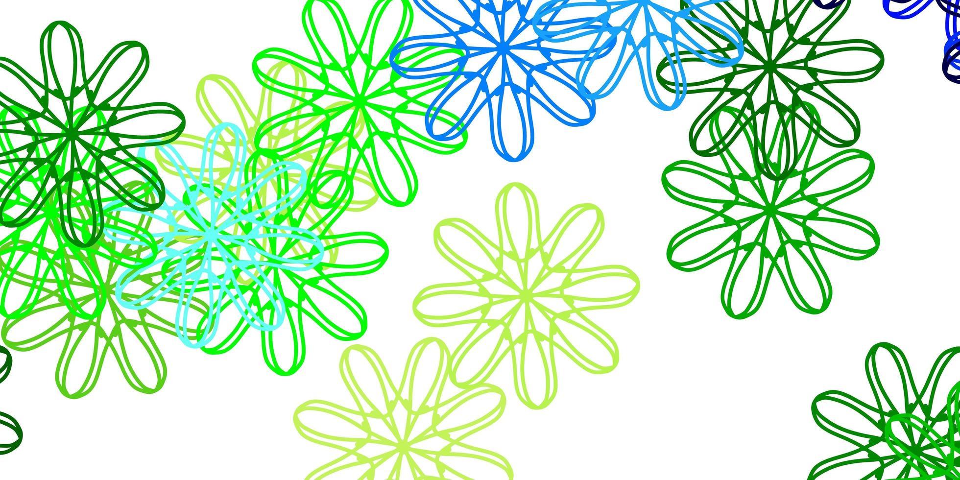 hellblaue, grüne Vektor-Gekritzelschablone mit Blumen. vektor