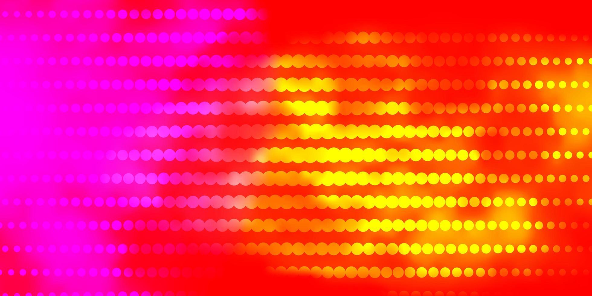hellrosa, gelbes Vektorlayout mit Kreisen. vektor