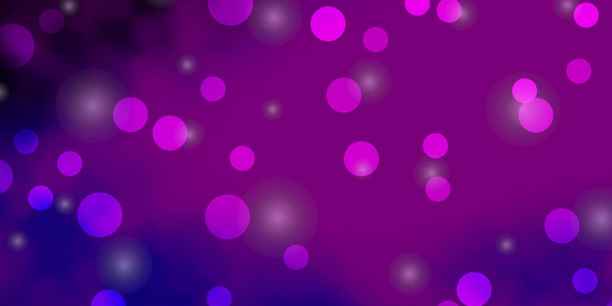 hellrosa, blaue Vektorschablone mit Kreisen, Sternen. vektor