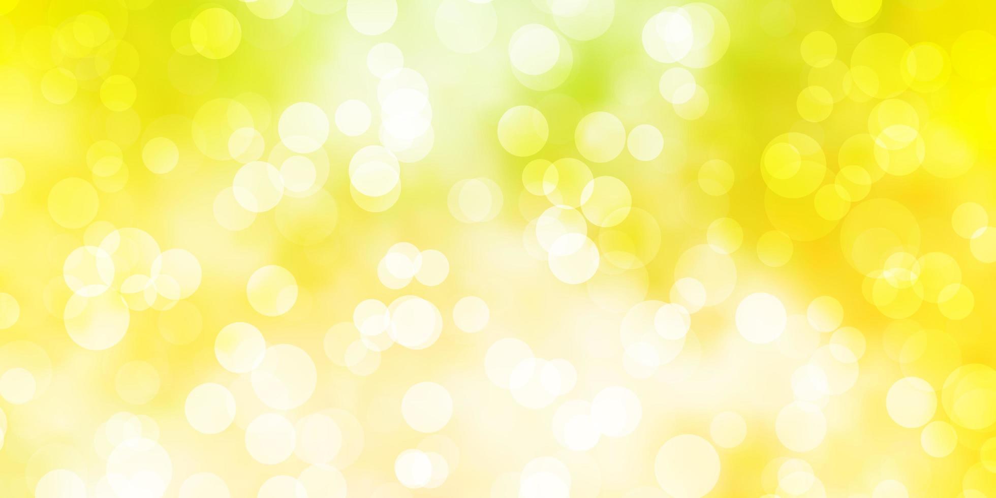 ljusgrönt, gult vektormönster med sfärer. vektor