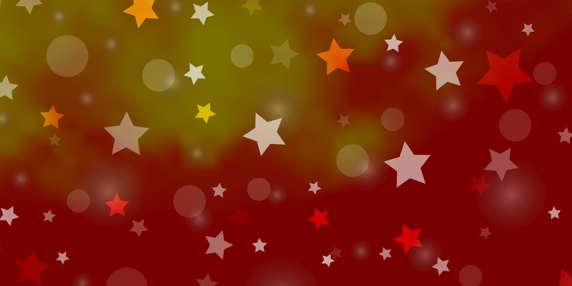 hellrote, gelbe Vektorschablone mit Kreisen, Sternen. vektor