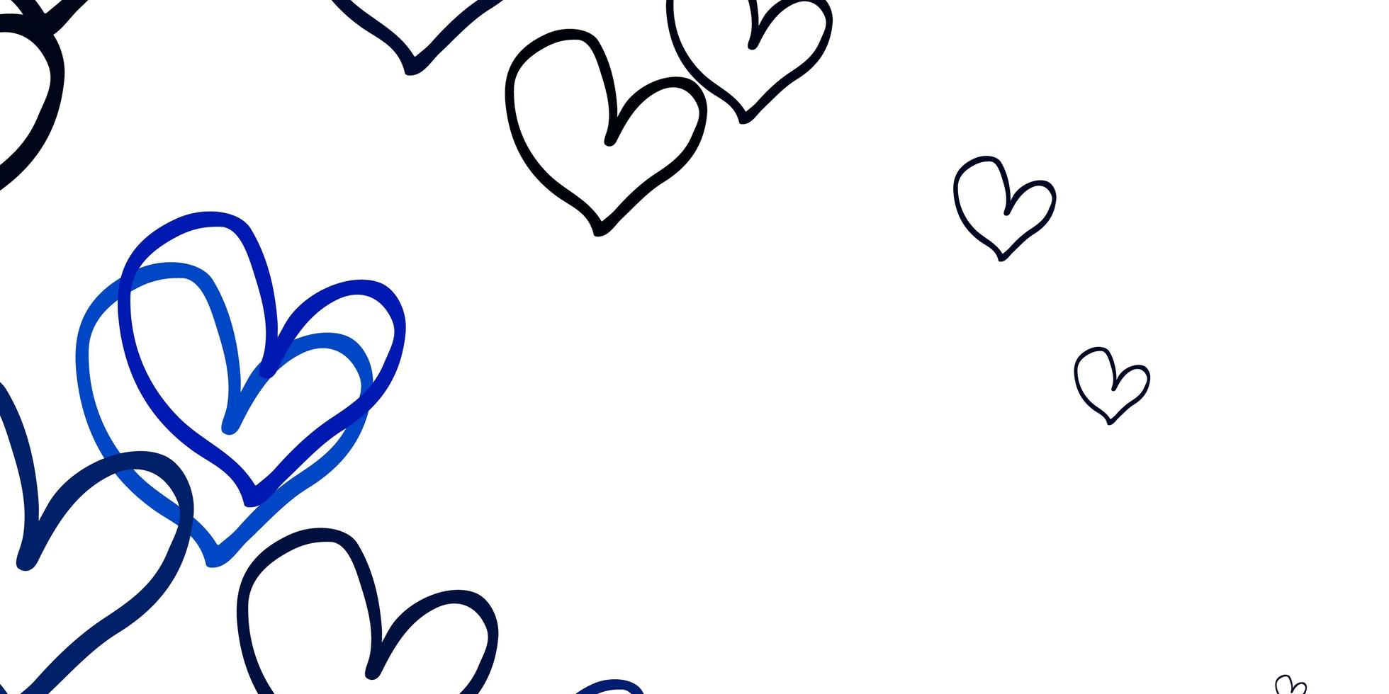 ljusblå vektormall med doodle hjärtan. vektor