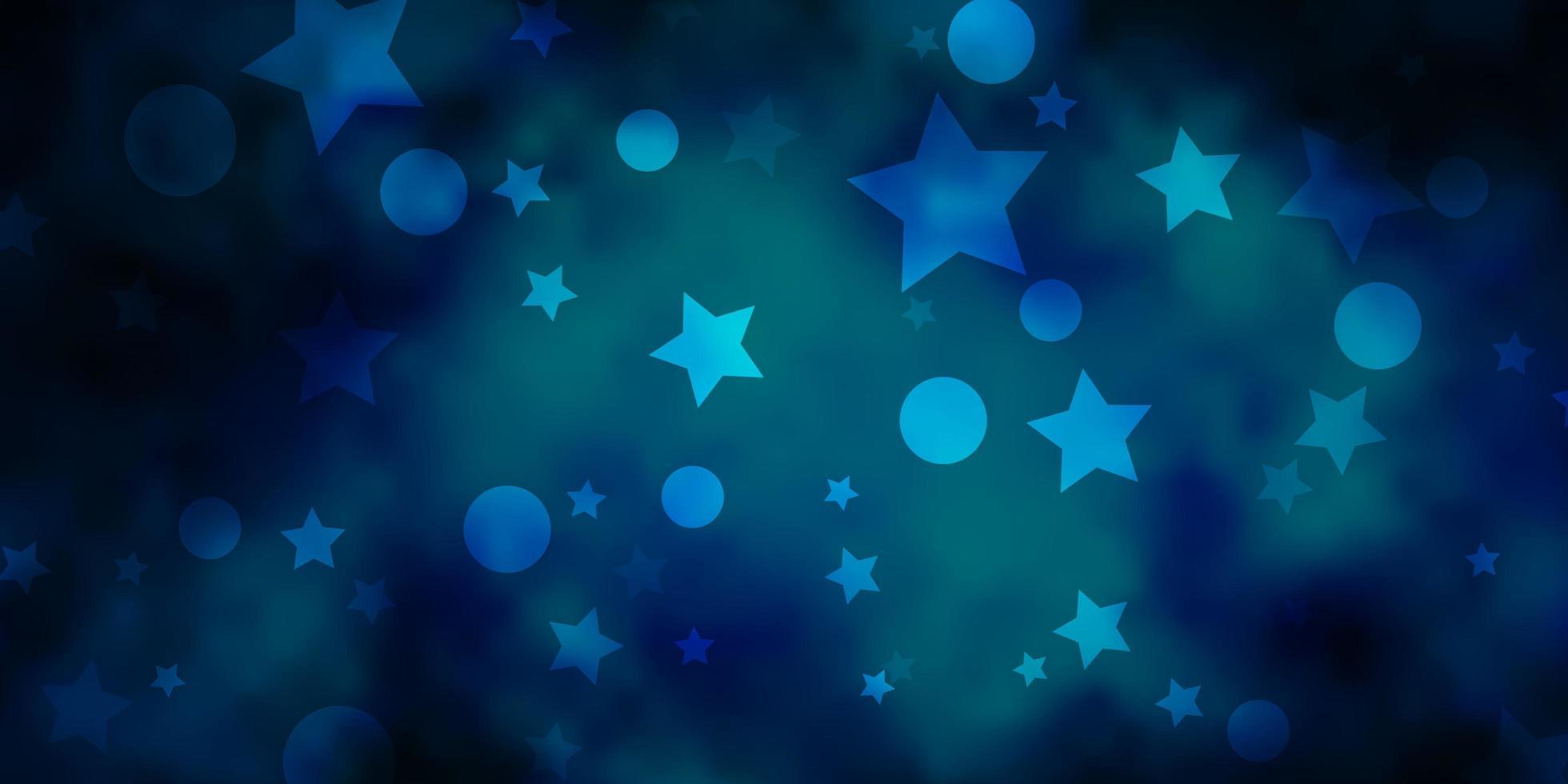 mörkblå vektorbakgrund med cirklar, stjärnor. vektor