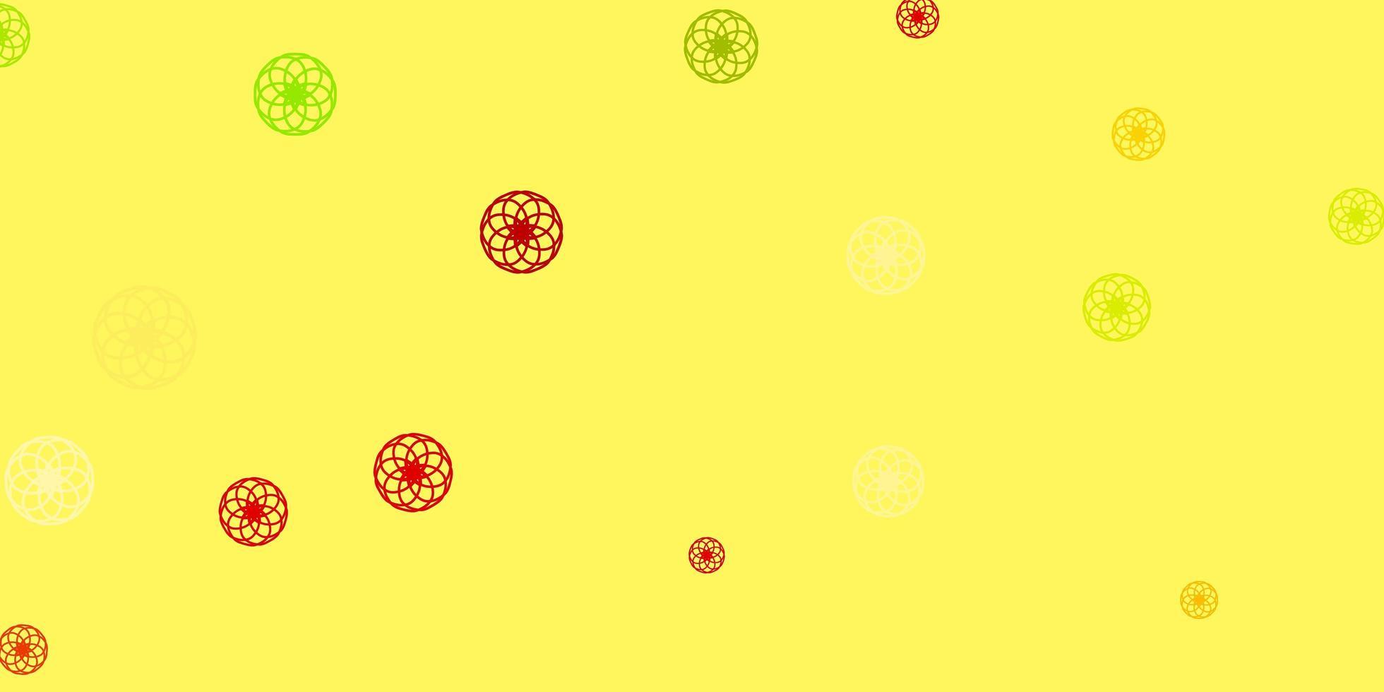 hellgrüner, roter Vektorhintergrund mit Blasen. vektor