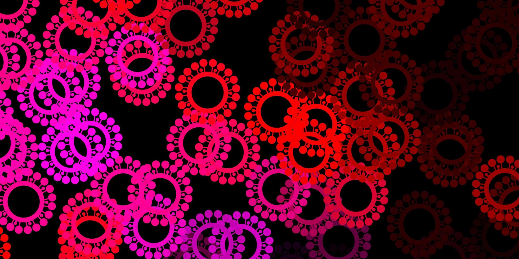 mörk lila, rosa vektormall med influensatecken vektor