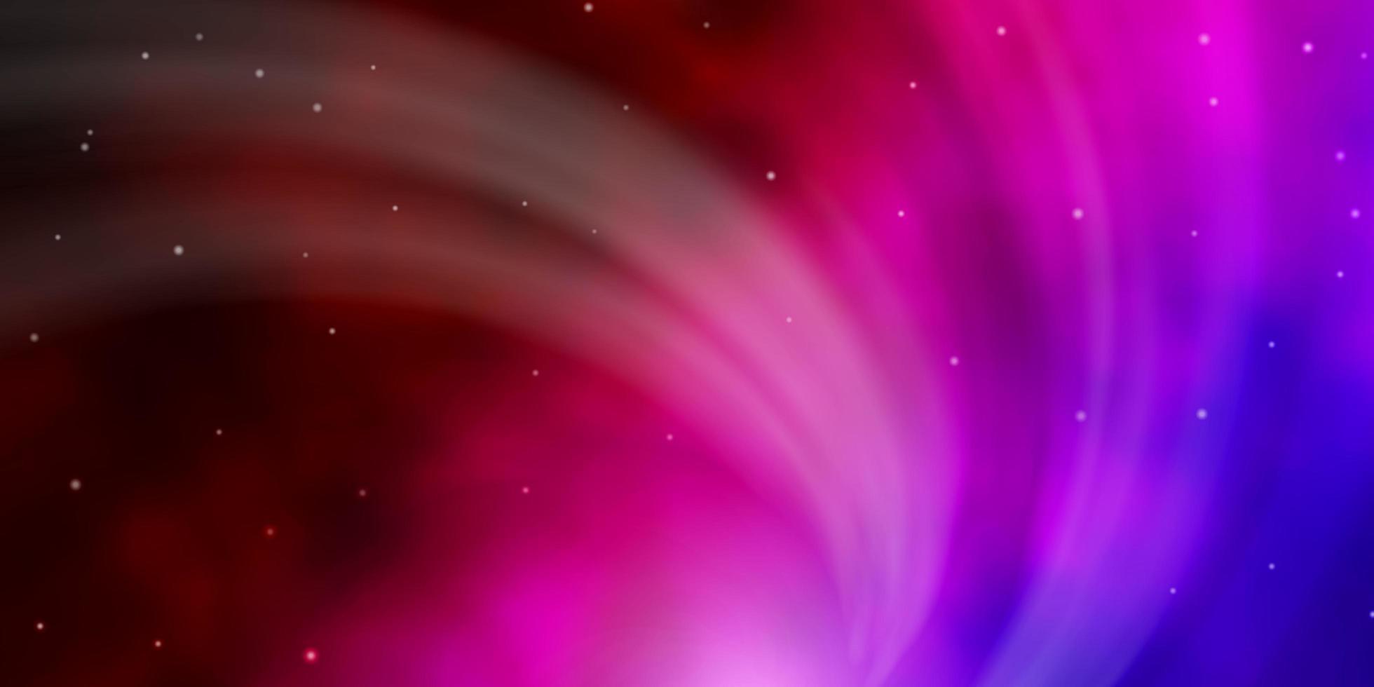 dunkelblauer, roter Vektorhintergrund mit kleinen und großen Sternen. vektor