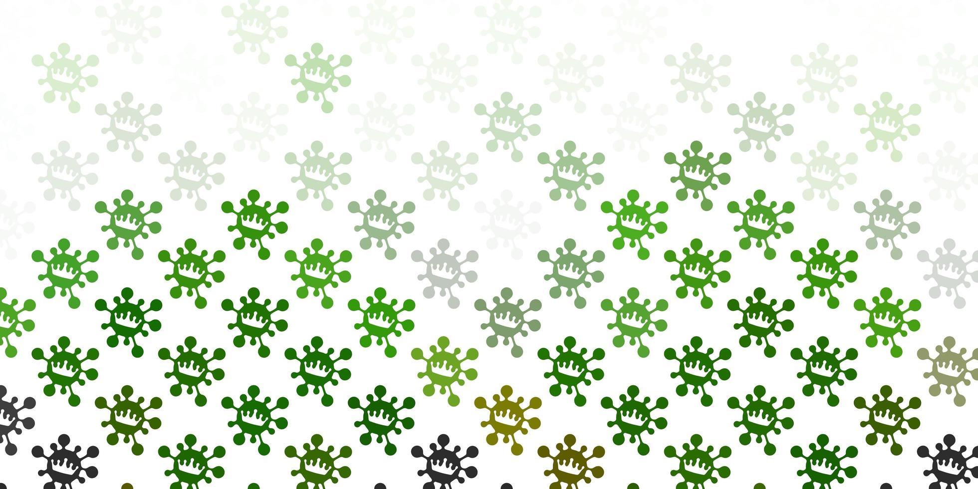 hellgrünes Vektormuster mit Coronavirus-Elementen. vektor