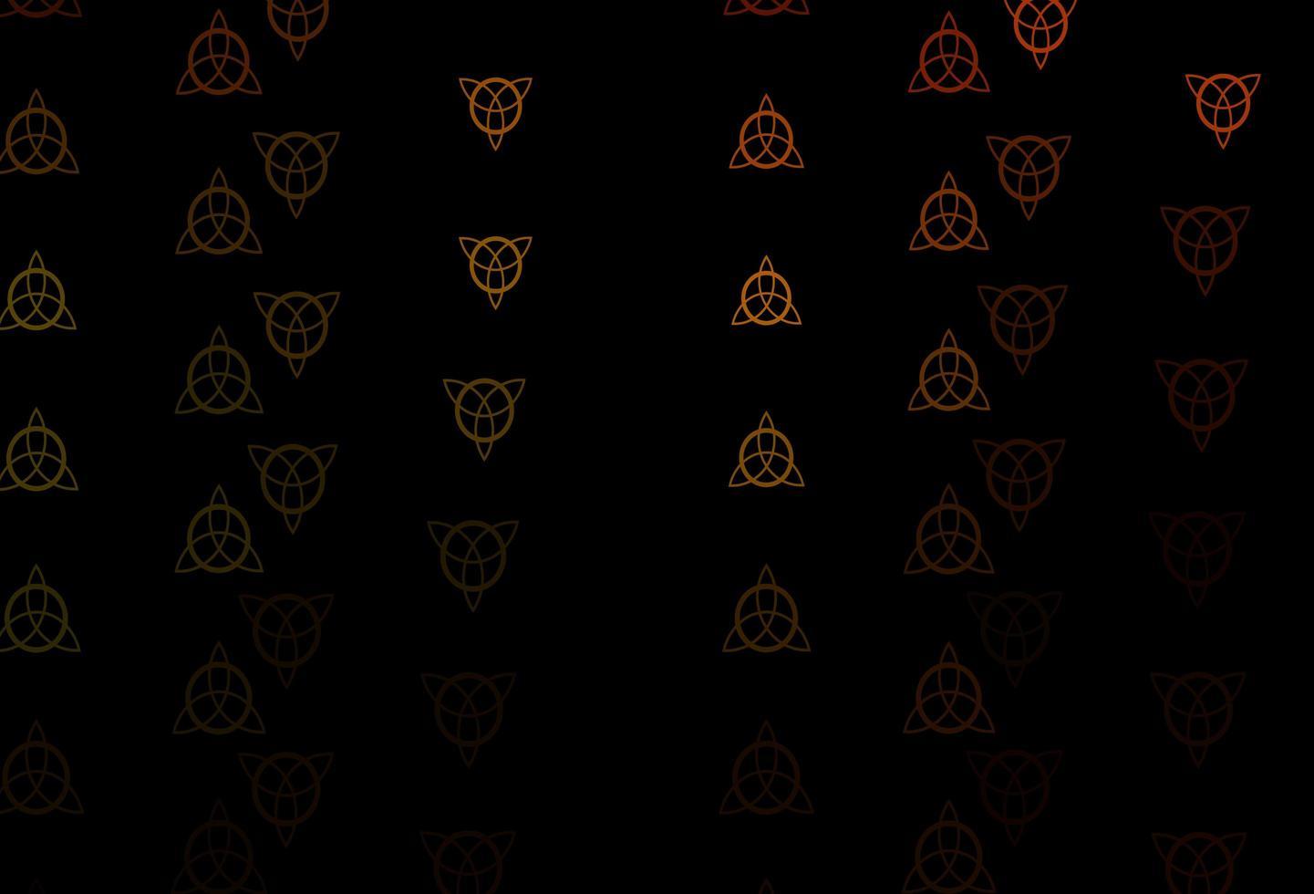 mörkgrön, gul vektorbakgrund med mysteriesymboler. vektor