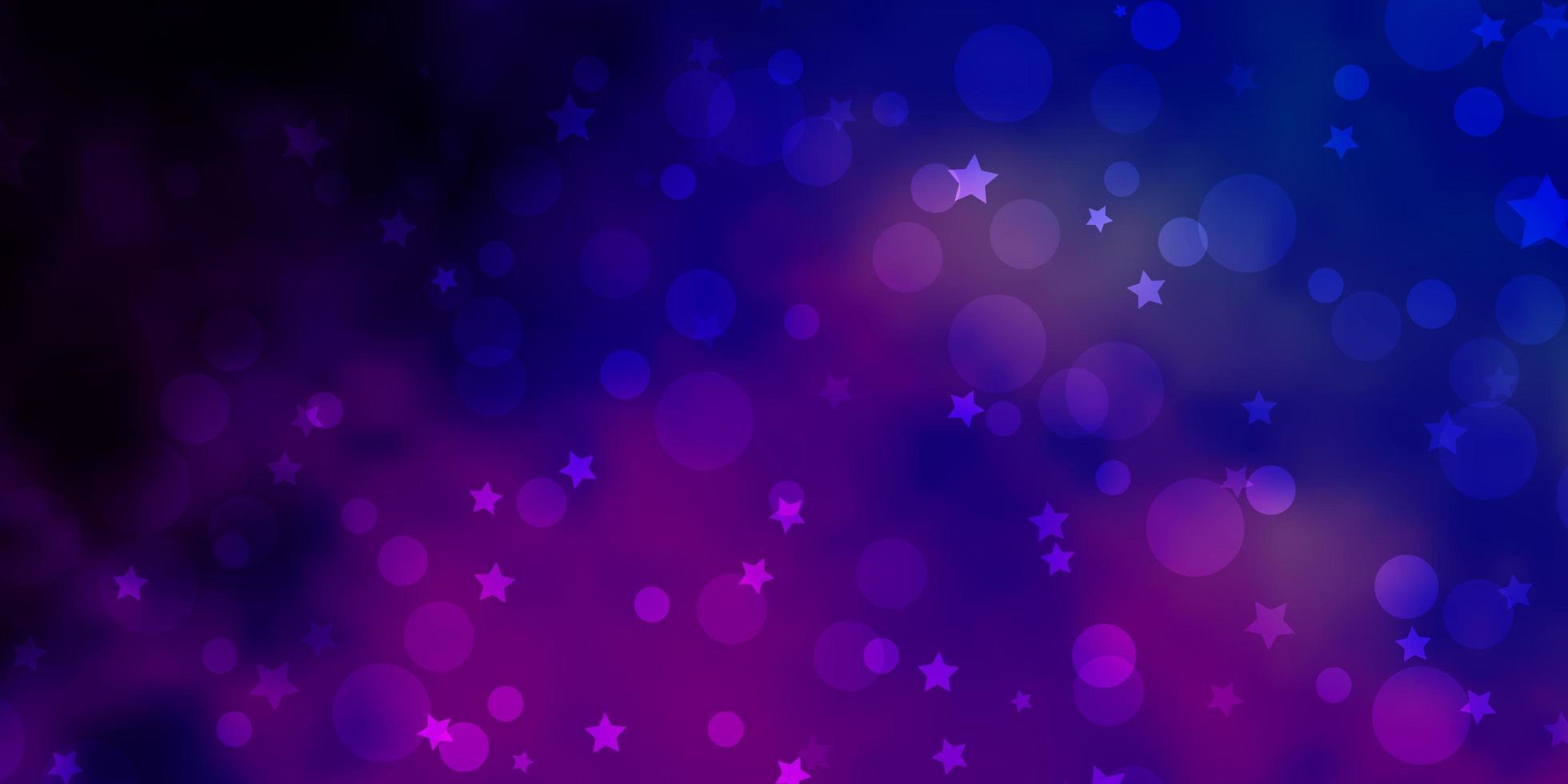 ljusrosa, blå vektormall med cirklar, stjärnor. vektor