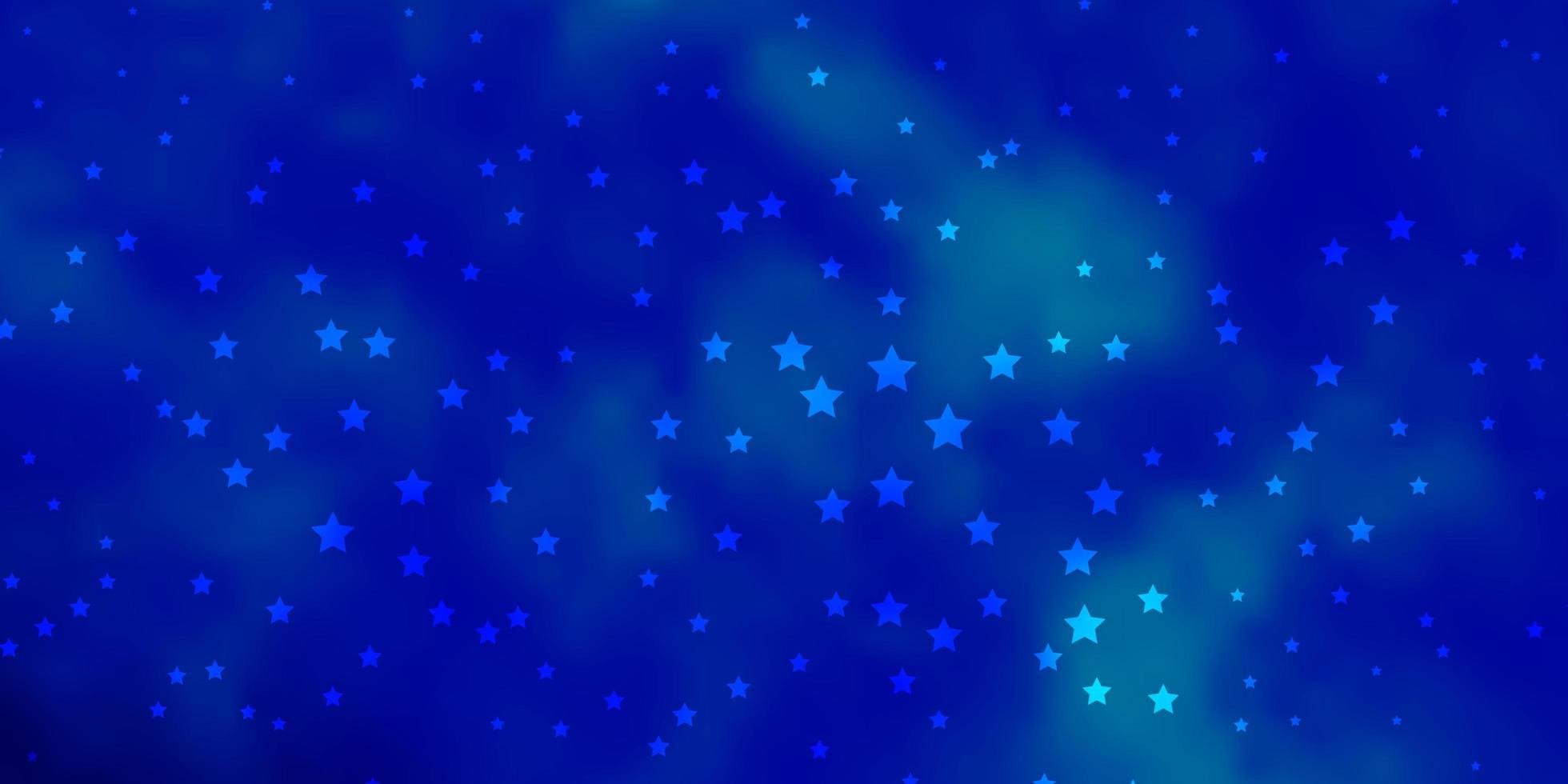 dunkelblaue Vektorschablone mit Neonsternen. vektor