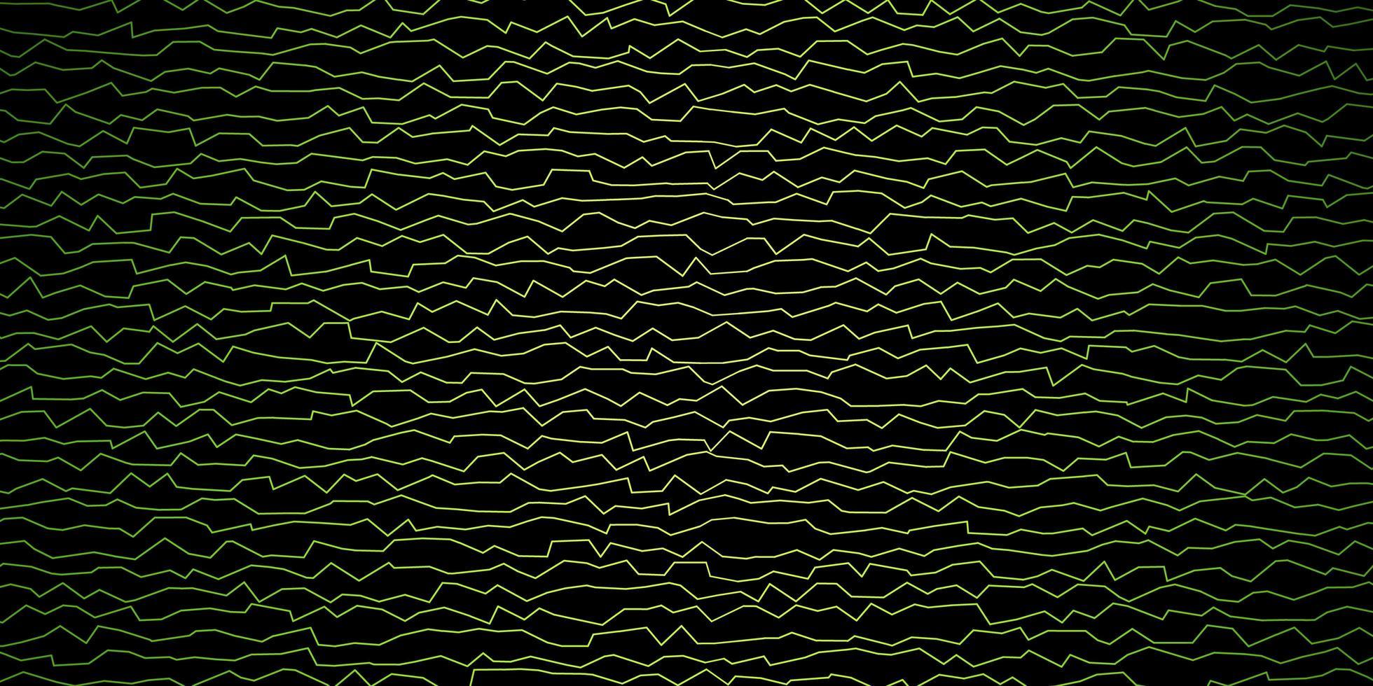 mörkgrönt, gult vektormönster med kurvor. vektor