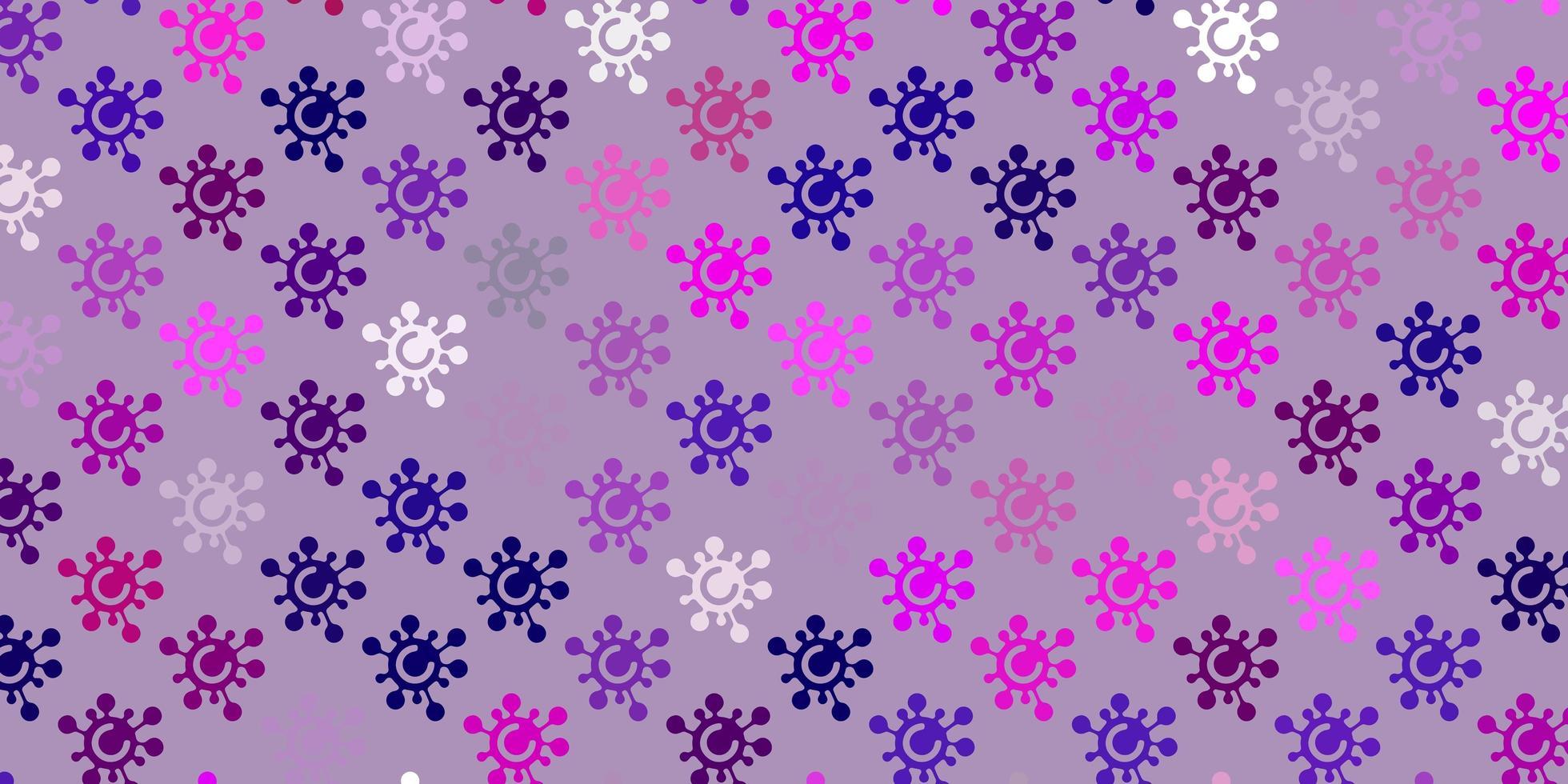 ljuslila, rosa vektor bakgrund med virussymboler.