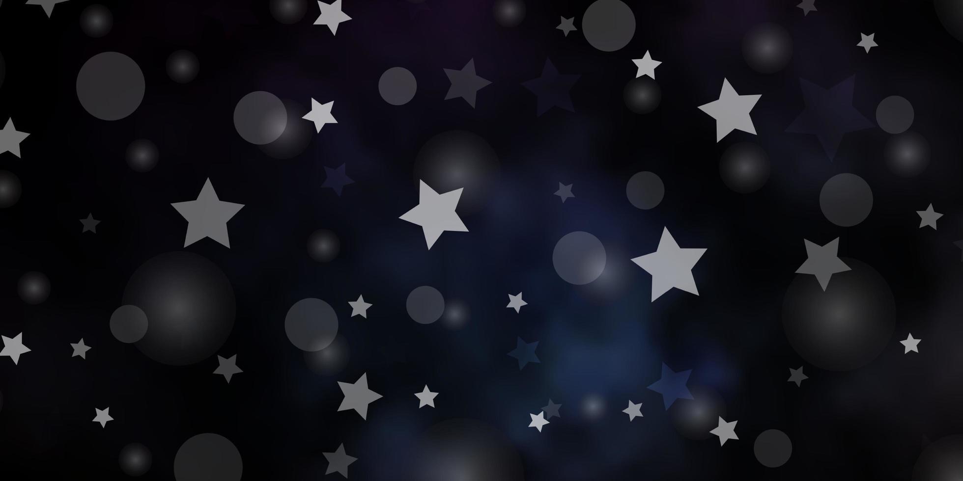 mörkblå vektormall med cirklar, stjärnor. vektor