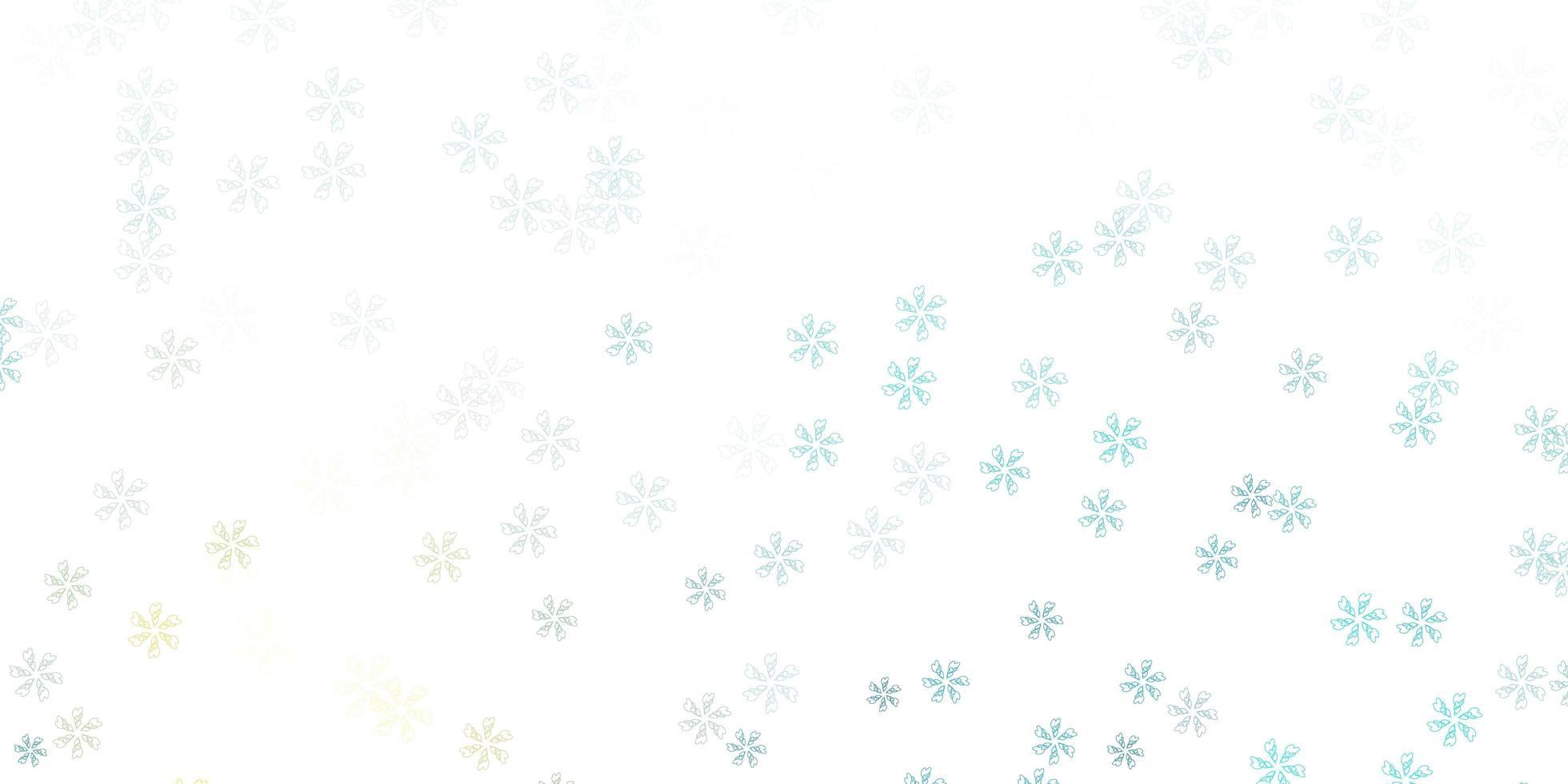 hellblaue, gelbe Vektor abstrakte Anordnung mit Blättern.