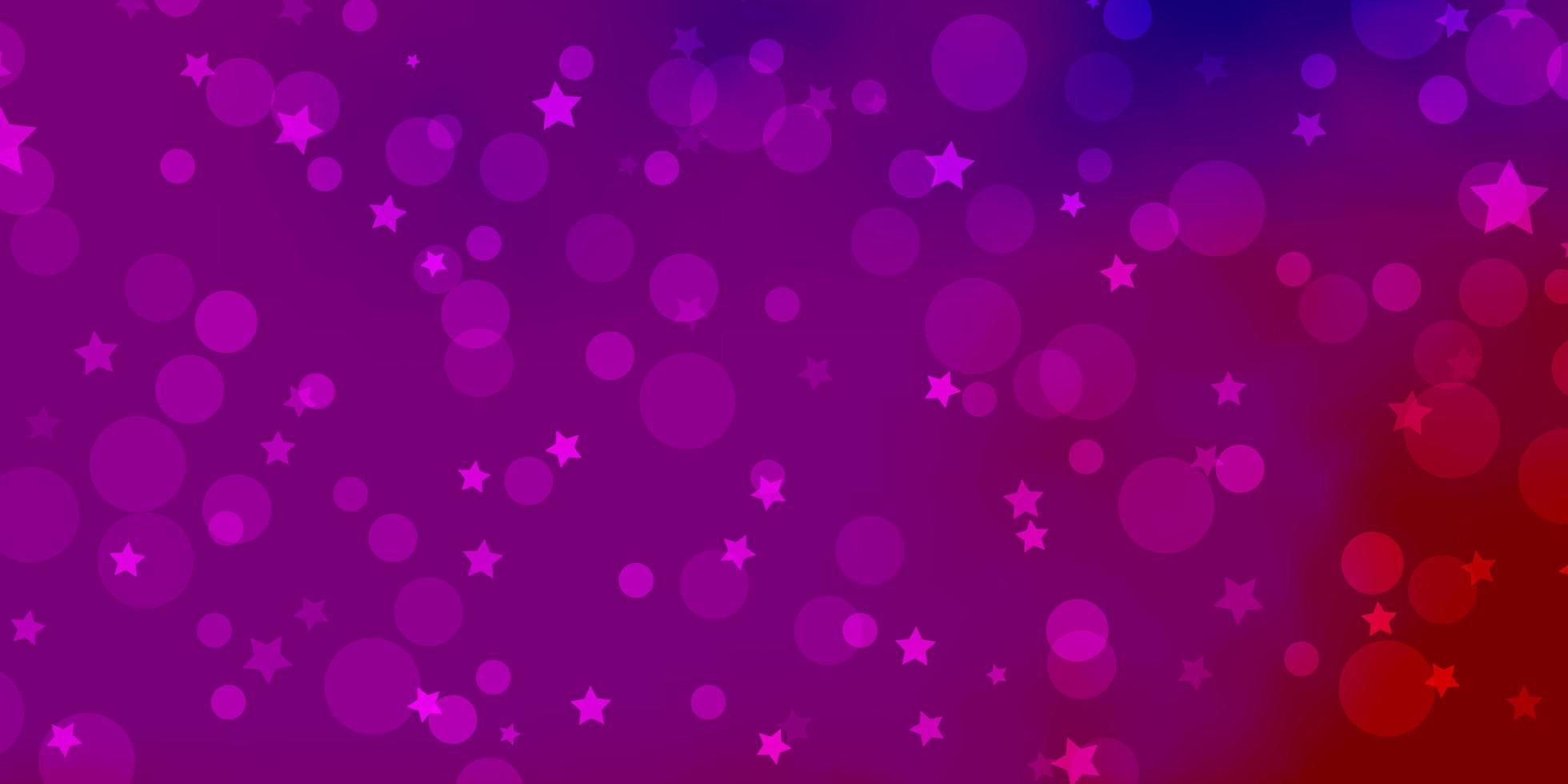 hellrosa, blaues Vektorlayout mit Kreisen, Sternen. vektor