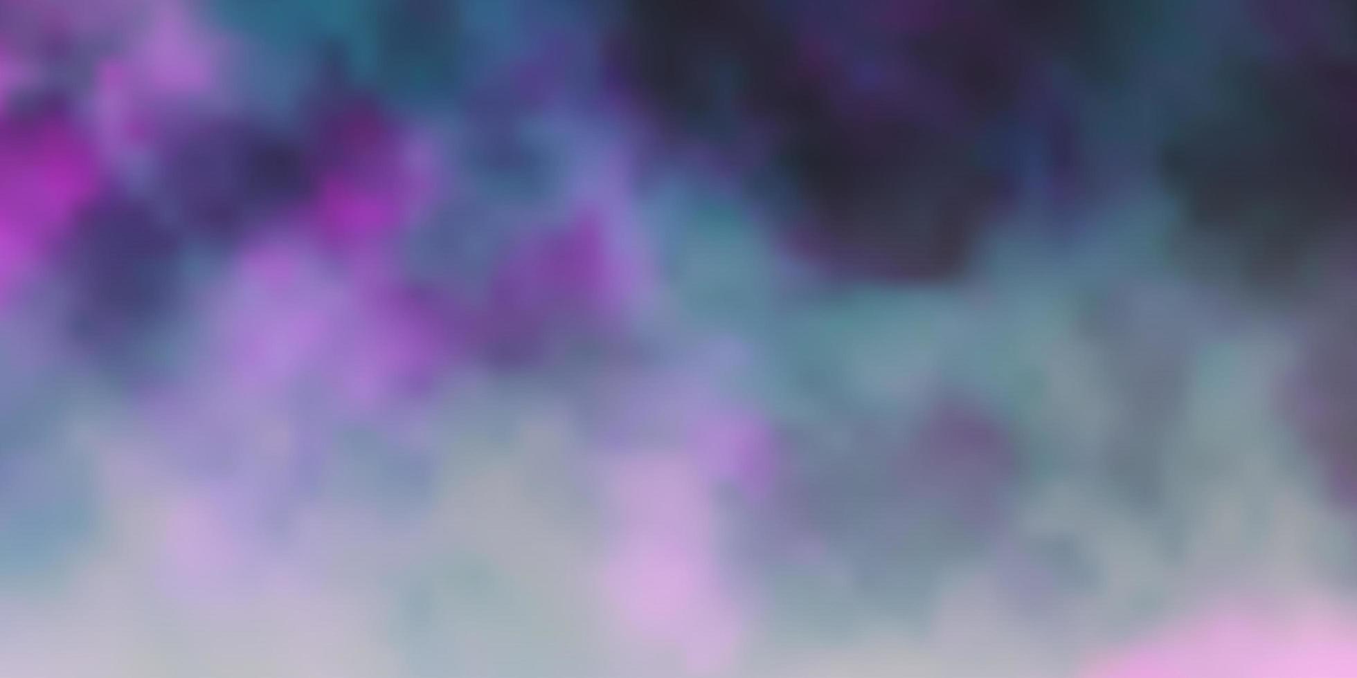 dunkelviolette, rosa Vektorschablone mit Himmel, Wolken. vektor