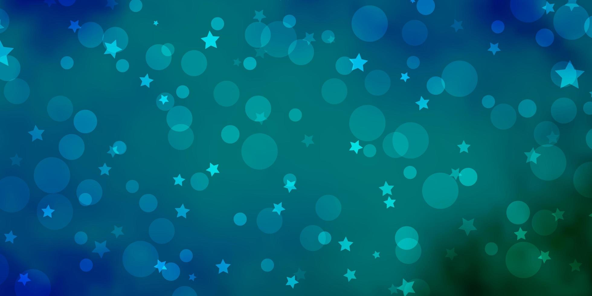 hellblaue, grüne Vektorbeschaffenheit mit Kreisen, Sternen. vektor