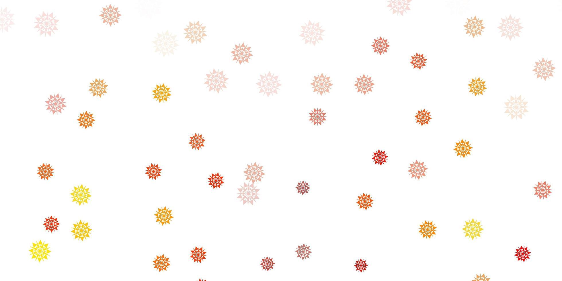 ljus orange vektor layout med vackra snöflingor.