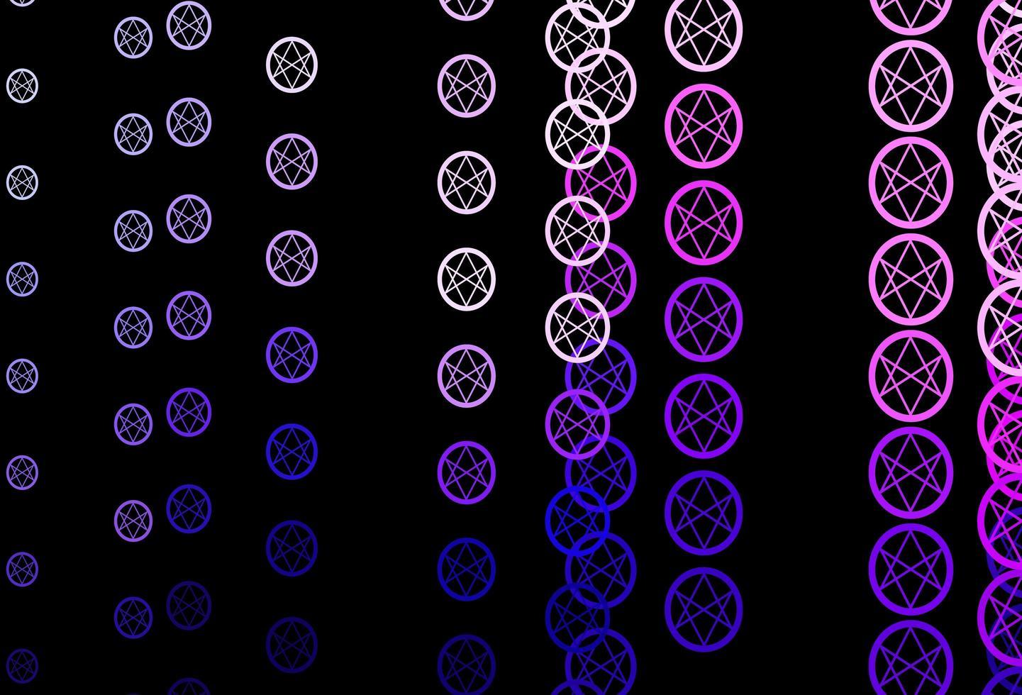 mörkrosa vektorbakgrund med ockulta symboler. vektor