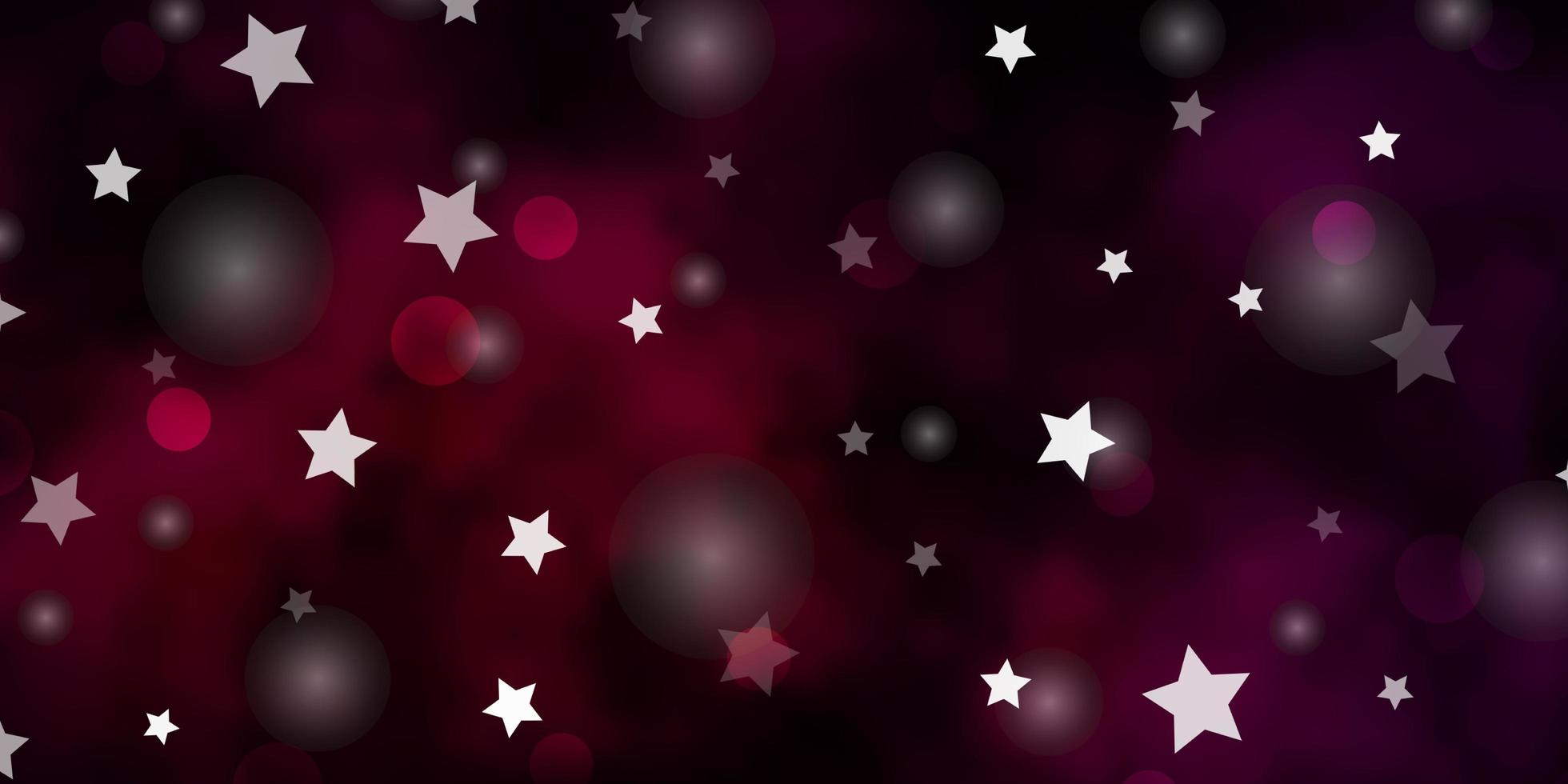 dunkelviolettes Vektorlayout mit Kreisen, Sternen. vektor